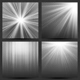 Grupo do vetor dos raios do feixe luminoso Flash de Sun com raios Efeito da luz do fulgor Ilustração do vetor ilustração royalty free