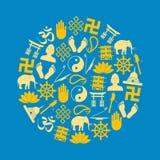 Grupo do vetor dos símbolos das religiões do budismo de ícones no círculo eps10 Foto de Stock