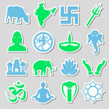 Grupo do vetor dos símbolos das religiões do Hinduísmo das etiquetas eps10 Imagens de Stock