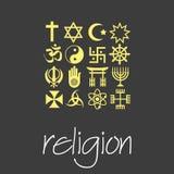 Grupo do vetor dos símbolos das religiões do mundo dos ícones verdes eps10 Fotos de Stock Royalty Free