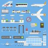 Grupo do vetor dos símbolos do aeroporto ilustração royalty free