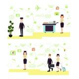 Grupo do vetor dos símbolos dos povos do aeroporto, ícones no estilo liso ilustração royalty free