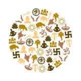 Grupo do vetor dos símbolos das religiões do Hinduísmo de ícones no círculo eps10 Foto de Stock