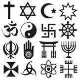 Grupo do vetor dos símbolos das religiões do mundo dos ícones eps10 Imagens de Stock