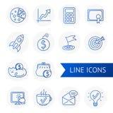 Grupo do vetor do esboço de linha negócio e trabalho dos ícones Imagem de Stock Royalty Free