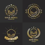 Grupo do vetor do logotipo do ouro do esboço dos crânios Parte três ilustração do vetor
