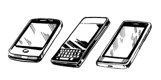 Grupo do vetor mão estilizado de telefones celulares tirados da tinta ilustração royalty free