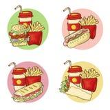 Grupo do vetor do menu do fast food ilustração do vetor