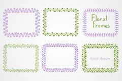 Grupo do vetor mão floral de quadros retangulares tirados Foto de Stock Royalty Free