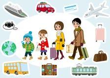 Grupo do viajante e do transporte da família do inverno ilustração stock