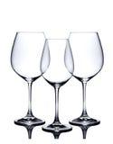 Grupo do vidro de cocktail. Vidros de vinho vermelho e branco vazios no branco Foto de Stock