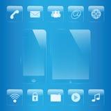 Grupo do vidro do ícone do telefone celular e da tabuleta
