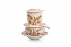 Grupo do vietnamita de filtro da cerâmica/café de China Imagem de Stock Royalty Free