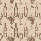 Grupo do vinho, esboço tirado mão de símbolos do vinho Imagem de Stock