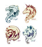 Grupo do vintage das cabeças dos animais Foto de Stock Royalty Free