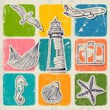 Grupo do vintage de ícones do curso de mar. Fotografia de Stock Royalty Free