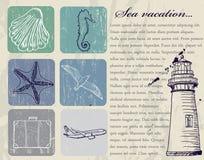Grupo do vintage de ícones do curso de mar. Fotografia de Stock