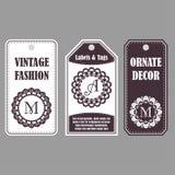 Grupo do vintage de etiquetas decorativas Decoração oriental com monogramas Etiquetas do molde para cartões Fotos de Stock Royalty Free