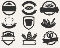 Grupo do vintage de logotipos do pão e da padaria Ilustração do vetor Foto de Stock