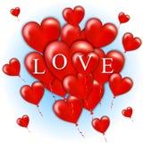Grupo do voo de corações vermelhos do balão Dia feliz dos Valentim Ilustração do vetor Foto de Stock