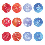 Grupo do zodíaco da aquarela Fotos de Stock Royalty Free