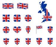 Grupo dos ícones da bandeira de Reino Unido, símbolo nacional da Grâ Bretanha - Union Jack, ícones BRITÂNICOS ilustração royalty free