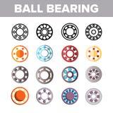 Grupo dos ícones da cor do vetor do mecanismo do rolamento de esferas ilustração stock