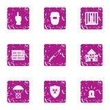 Grupo dos ícones da entrega do frete, estilo do grunge ilustração royalty free