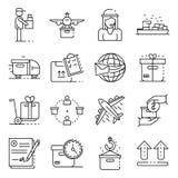 Grupo dos ícones da entrega do pacote, estilo do esboço ilustração do vetor