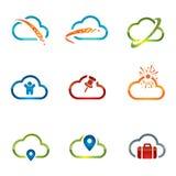 Grupo dos ícones 4 da nuvem Fotos de Stock