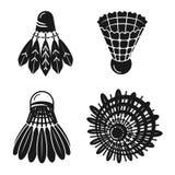 Grupo dos ícones da peteca, estilo simples ilustração stock
