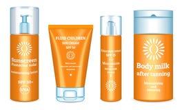 Grupo dos ícones da proteção solar, estilo realístico ilustração royalty free