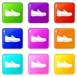 Grupo dos ícones 9 das sapatas ilustração royalty free