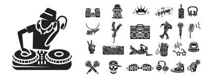 Grupo dos ícones de Hiphop, estilo simples ilustração stock