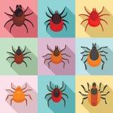 Grupo dos ícones do ácaro, estilo liso ilustração royalty free