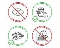 Grupo dos ícones do avião, do olho e da educação Sinal da busca Plano, vista ou visão, pontas rápidas analytics Vetor ilustração royalty free