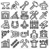 Grupo dos ícones do batente, estilo do esboço ilustração royalty free