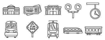Grupo dos ícones do estação de caminhos de ferro da estrada de ferro, estilo do esboço ilustração do vetor