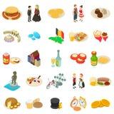 Grupo dos ícones do país europeu, estilo isométrico ilustração royalty free