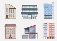 Grupo dos ícones e de símbolos da construção de Real Estate, isolado Ilustração do vetor Foto de Stock