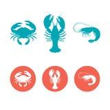 Grupo dos ícones lisos do marisco imagem de stock