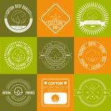 Grupo dos ícones ou de etiquetas do algodão Imagens de Stock Royalty Free