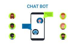 Grupo dos ícones dos povos do telefone do robô do bot do bate-papo ilustração do vetor