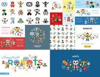 Grupo dos ícones dos robôs do companheiro de Digitas ilustração do vetor