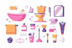 Grupo dos acessórios do banho ilustração stock