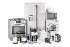 Grupo dos aparelhos eletrodomésticos da cozinha Torradeira, máquina de lavar, refrigerador Imagem de Stock Royalty Free