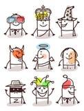 Grupo dos avatars masculinos - com acessórios Foto de Stock