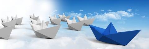 Grupo dos barcos de papel no céu Imagens de Stock