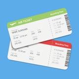 Grupo dos bilhetes da passagem de embarque da linha aérea com sombra Isolado no fundo azul Projeto liso do vetor Fotografia de Stock Royalty Free