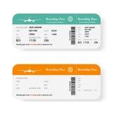 Grupo dos bilhetes da passagem de embarque da linha aérea com sombra Isolado no fundo branco Ilustração do vetor Fotos de Stock Royalty Free